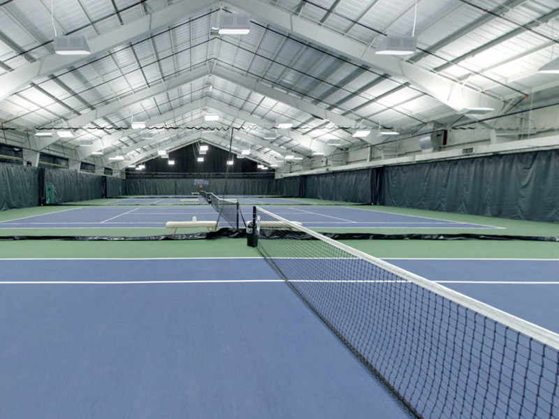 indoor tennis facilities at The Club