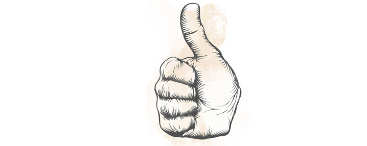 thumbs up for a positive training attitude